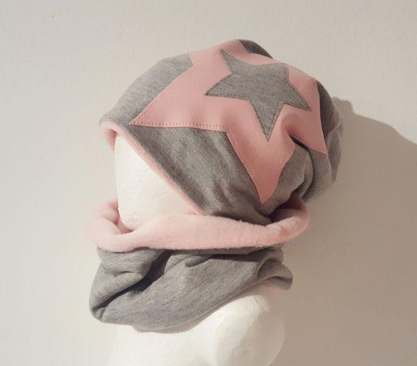 """♥ Loop-Beanie-Set """"rosa/pink"""" Fleece ♥"""