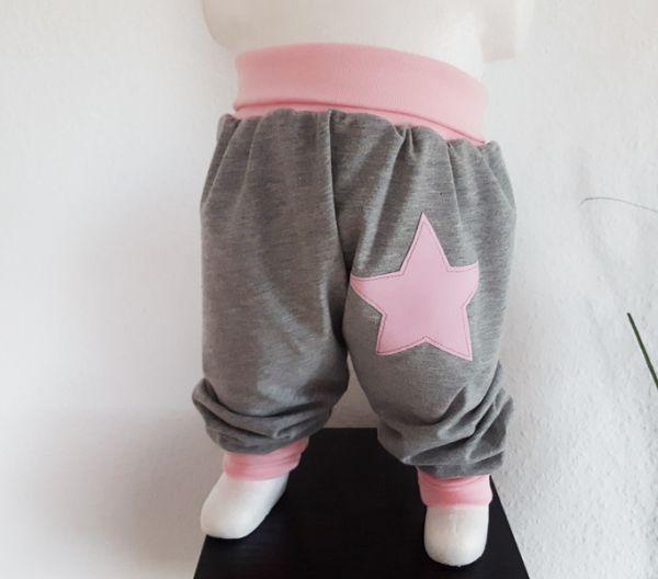 "♥ Pumphose ""uni / Stern"" grau/rosa Jersey ♥"