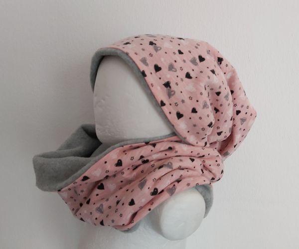 "♥ Loop-Beanie Set ""Herzchen"" rosa grau Fleece ♥"