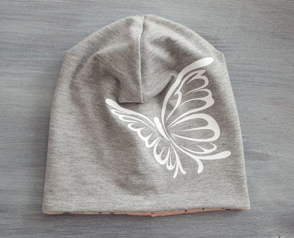 """♥ Beanie Jersey """"Schmetterling"""" grau ♥"""