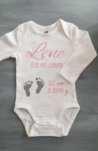♥ Baby Body Geschenk Name Geburt Taufe *freie Farbwahl* ♥