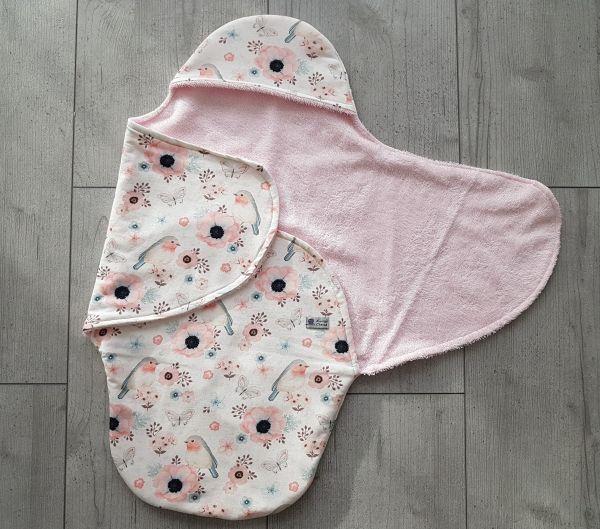 """♥ Einschlagdecke für Babyschale """"Lovely Birds"""" weiß Frottee ♥"""
