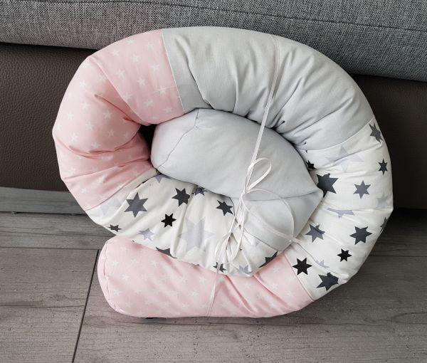 ♥ Bettschlange Bettrolle rosa/grau ♥