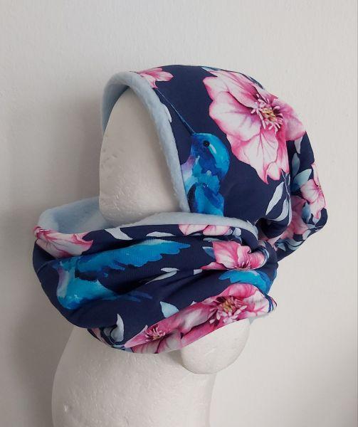 """♥ Loop-Beanie Set """"Birds & Flowers"""" blau pink Fleece ♥"""