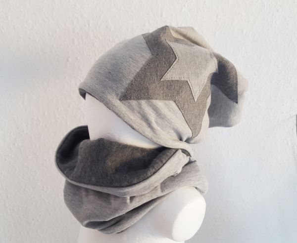 "♥ Loop-Beanie-Set ""grau/grau"" Fleece ♥"