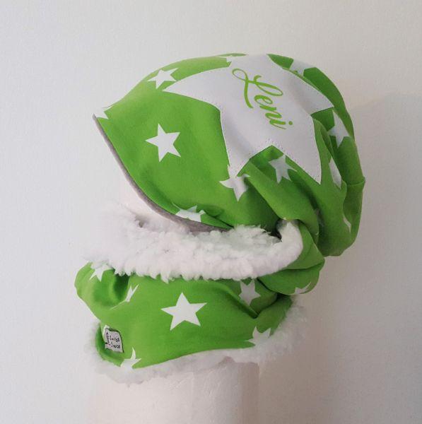 """♥ Loop-Beanie-Set """"Green Stars"""" """"Name""""♥"""