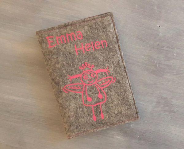 """♥ U-Heft Hülle Filz """"Engelchen pink"""" ♥"""