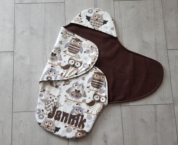"""♥ Einschlagdecke für Babyschale """"Braune Eulen""""♥"""