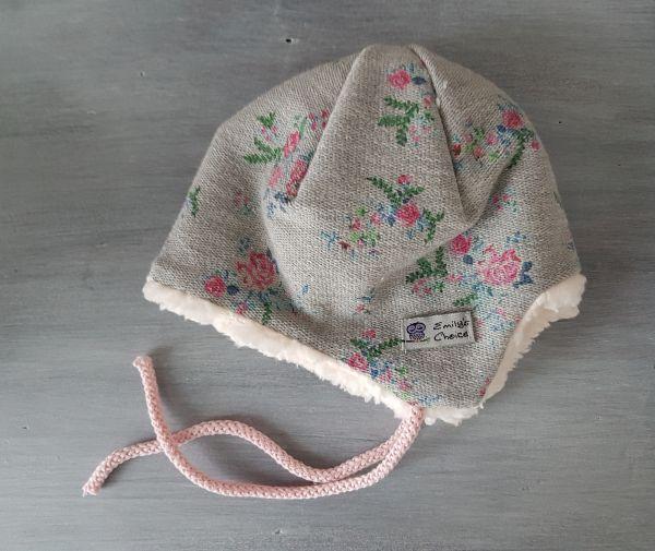 """♥ Wintermütze Ohrenklappenmütze """"Rosen"""" Plüsch ♥"""