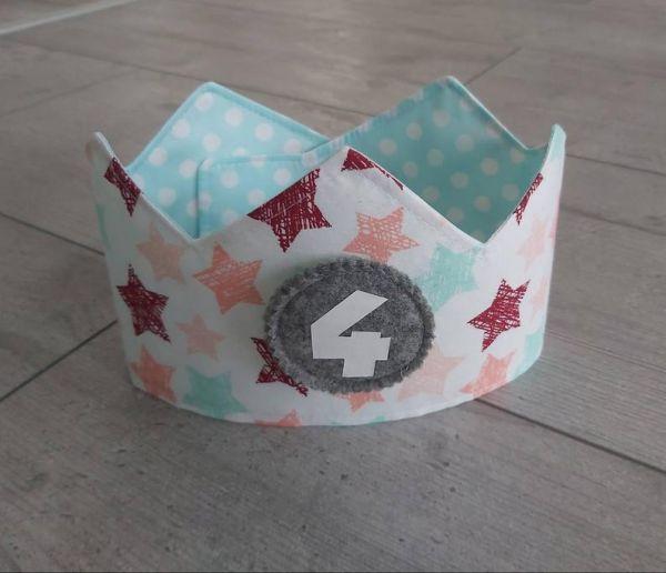 """♥ Immerwährende Geburtstagskrone 1-10 """"Sterne pastell"""" ♥"""
