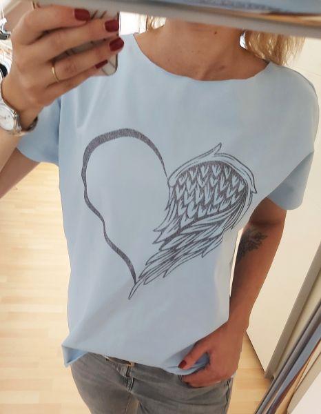 """♥ Frauen T-Shirt hellblau """"Herzensengel"""" Herz Engel Fashion ♥"""