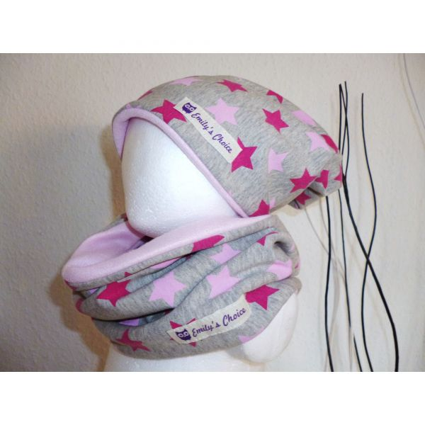 "♥ Loop-Beanie Set ""Pink Stars"" Fleece ♥"