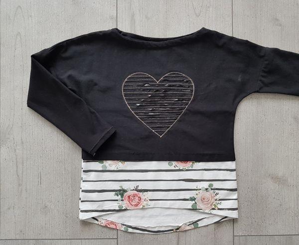 """♥ Oversize-Shirt """"Mila"""" Rosen schwarz Gr. 80-170 ♥"""