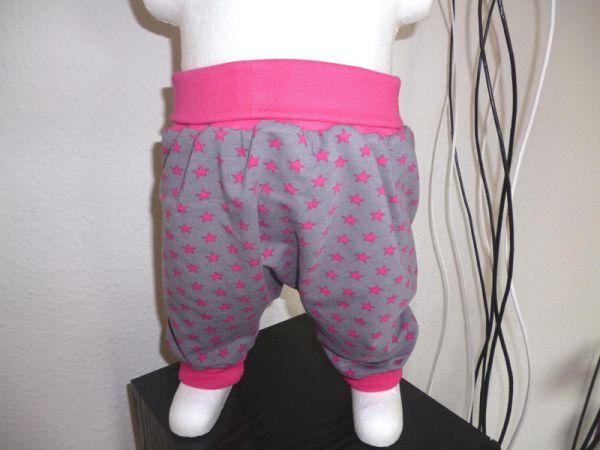 "♥ Pumphose ""Pinke Sternchen"" grau Jersey ♥"