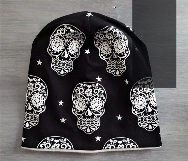 """♥ Beanie Jersey """"Cute Skulls"""" schwarz ♥"""