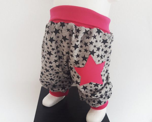 "♥ Pumphose ""Stars & Stars"" grau/pink Jersey ♥"