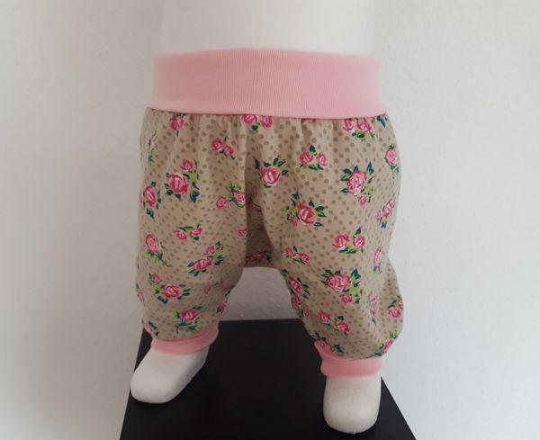 """♥ Pumphose """"Rosen"""" rosa/beige Jersey ♥"""