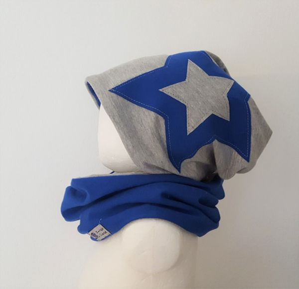 "♥ Loop-Beanie-Set ""grau/royalblau Stern"" ♥"