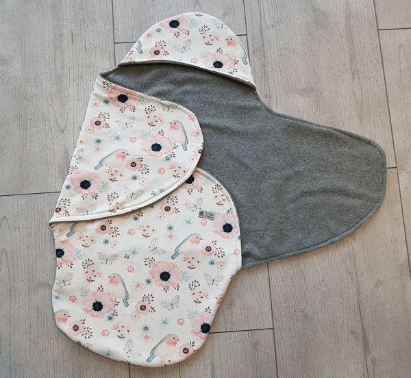 """♥ Einschlagdecke für Babyschale """"Lovely Birds"""" weiß ♥"""