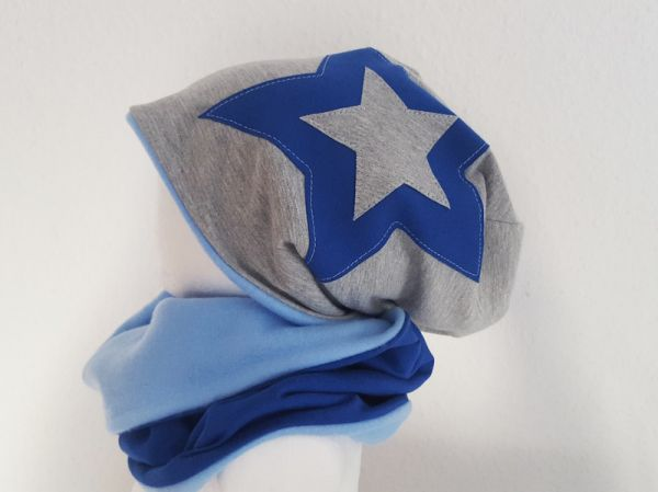 "♥ Loop-Beanie-Set ""grau/royalblau"" Fleece ♥"