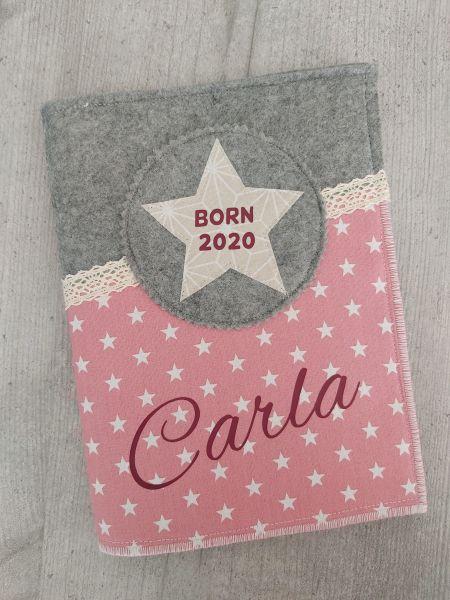 """♥ U-Heft Hülle Filz """"Carla"""" altrosa / beige ♥"""
