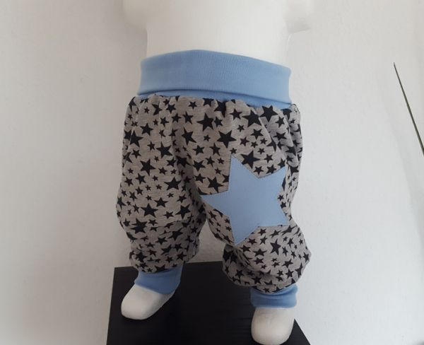 "♥ Pumphose ""Stars & Stars"" grau/hellblau Jersey ♥"
