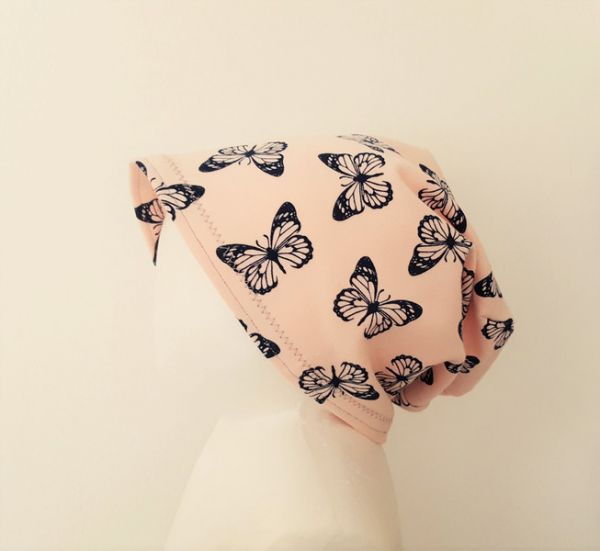 "♥ Sommerbeanie ""Lovely Butterflies"" Sweat rosé ♥"