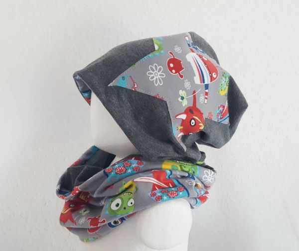 "♥ Loop-Beanie-Set ""Monster"" bunt ♥"