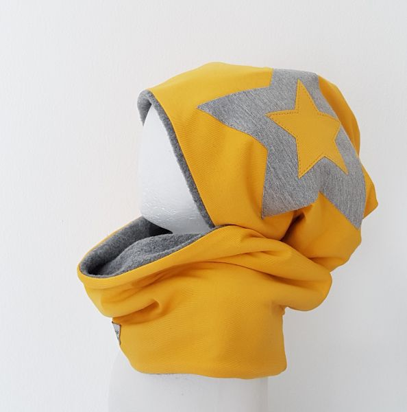 "♥ Loop-Beanie-Set ""gelb/grau"" Fleece ♥"