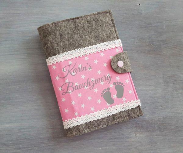 """♥ Mutterpasshülle Filz """"Bauchzwerg rosa"""" ♥"""