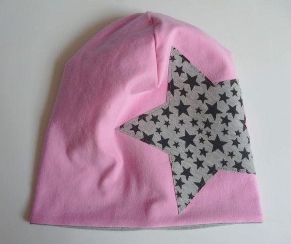 ♥ Beanie mit Stern rosa/grau ♥