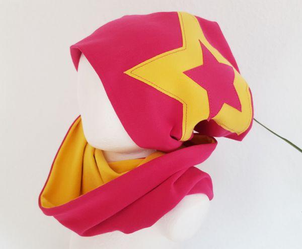"""♥ Loop-Beanie-Set """"Pink/Gelb Stern"""" ♥"""