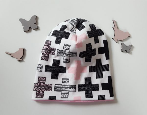 "♥ Beanie ""Crosses"" rosa ♥"