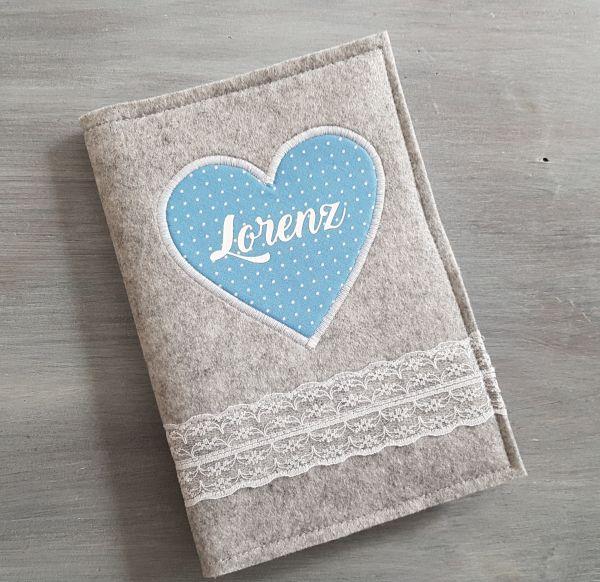 """♥ U-Heft Hülle Filz """"Lace Heart"""" hellblau ♥"""