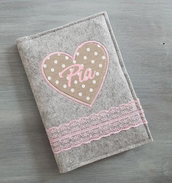 """♥ U-Heft Hülle Filz """"Lace Heart"""" beige ♥"""
