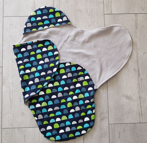 """♥ Einschlagdecke für Babyschale """"Muster türkis/grün/blau/grau"""" ♥"""