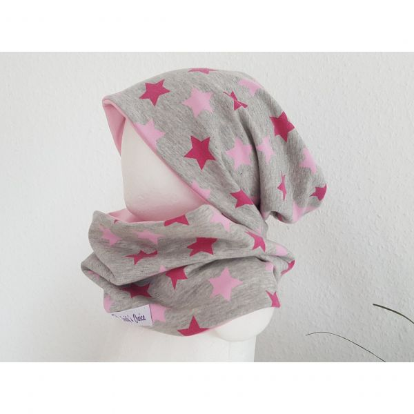 "♥ Loop-Beanie-Set ""Pink Stars"" rosa ♥"