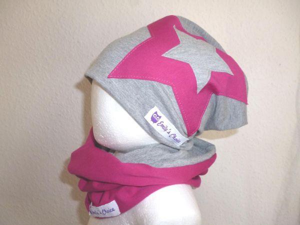 """♥ Loop-Beanie-Set """"Grau/Pink Stern"""" ♥"""