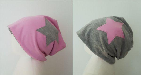 "♥ Wendebeanie Jersey ""grau/rosa"" Stern ♥"