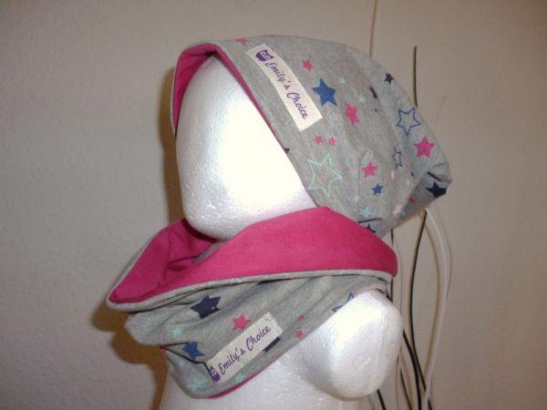 "♥ Loop-Beanie-Set ""Sternchen pink/blau/grau"" ♥"
