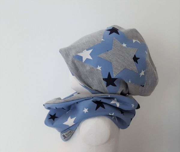 "♥ Loop-Beanie-Set ""Stern-Mix"" blau ♥"
